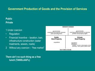 Government Production of Goods and the Provision of Services