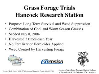 Grass Forage Trials Hancock Research Station