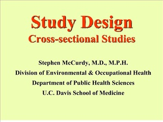 Study Design Cross-sectional Studies