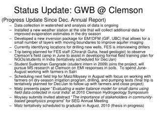 Status Update: GWB @ Clemson