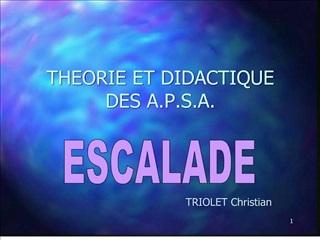 THEORIE ET DIDACTIQUE DES A.P.S.A.