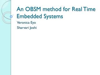 An OBSM method for Real Time Embedded Systems