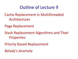 Outline of Lecture 9