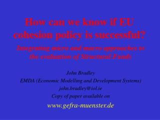 How can we know if EU cohesion policy is successful?