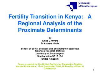 Fertility Transition in Kenya:   A Regional Analysis of the Proximate Determinants