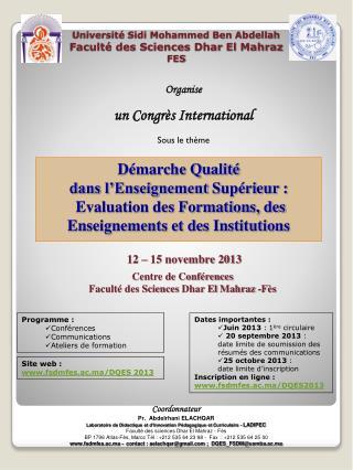 Université Sidi Mohammed Ben  Abdellah Faculté des Sciences  Dhar  El  Mahraz FES