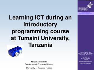Learning ICT during an introductory programming course  at Tumaini University, Tanzania