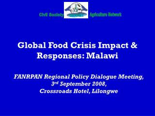 Global Food Crisis Impact & Responses: Malawi