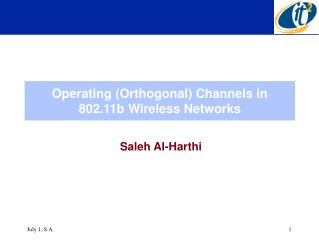 Operating (Orthogonal) Channels in 802.11b Wireless Networks