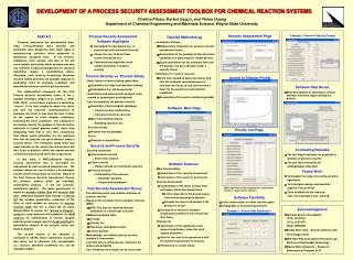 AIChE03SecToolDEVELOPMENT OF A PROCESS SECURITY ASSESSMENT TOOLBOX FOR CHEMICAL REACTION SYSTEMS