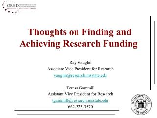 Thoughts on Finding and Achieving Research Funding