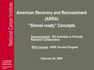 "American Recovery and Reinvestment (ARRA) "" Shovel-ready"" Concepts"