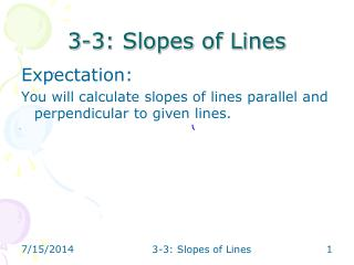 3-3: Slopes of Lines