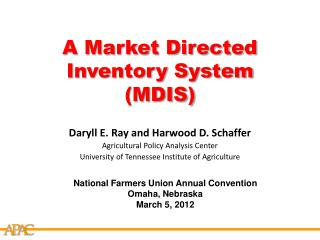 A Market Directed Inventory System (MDIS)