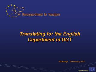 Translating for the English Department of DGT