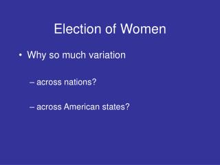 Election of Women