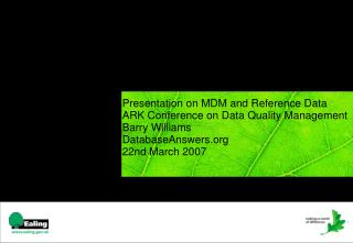 Presentation on MDM and Reference Data ARK Conference on Data ...