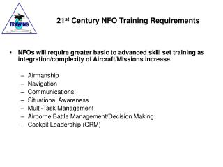 21 st  Century NFO Training Requirements