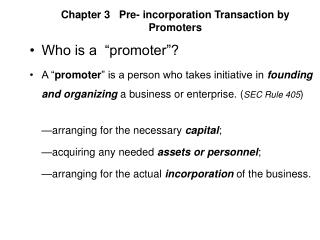 Chapter 3   Pre- incorporation Transaction by Promoters