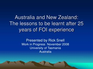 Australia and New Zealand: The lessons to be learnt after 25 years of FOI experience