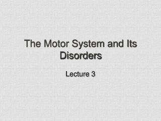 The Motor System and Its Disorders