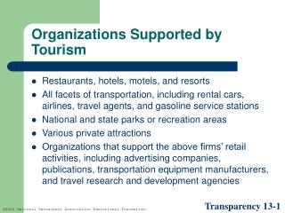 Organizations Supported by Tourism