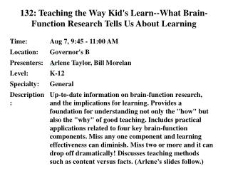 132: Teaching the Way Kid's Learn--What Brain-Function Research Tells Us About Learning