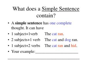 What does a  Simple Sentence  contain?