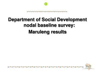 Department of Social Development nodal baseline survey: Maruleng results