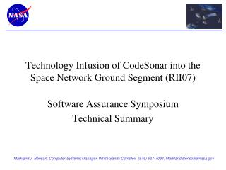 Technology Infusion of CodeSonar into the Space Network Ground Segment (RII07)