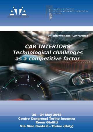 3 rd   International  Conference  CAR INTERIORS Technological challenges as a competitive factor