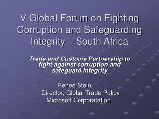 V Global Forum on Fighting Corruption and Safeguarding Integrity – South Africa