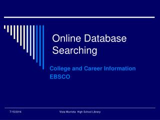 Online Database Searching
