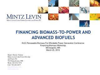 FINANCING BIOMASS-TO-POWER AND ADVANCED BIOFUELS