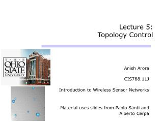 Lecture 5:  Topology Control