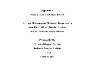 Appendix K Phase 2 HGB Mid Course Review Average Minimum and Maximum Temperatures  from 1961-1990 at 9 Weather Stations