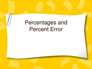Percentages and Percent Error