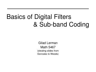 Basics of Digital Filters                 & Sub-band Coding