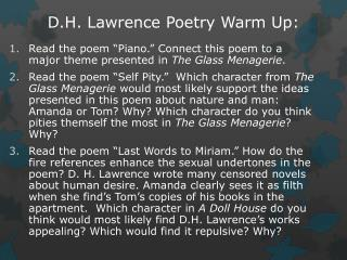 D.H. Lawrence Poetry Warm Up: