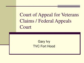 Court of Appeal for Veterans Claims / Federal Appeals Court