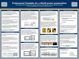 Professional Template for a 48x36 poster presentation