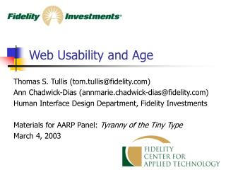 Web Usability and Age