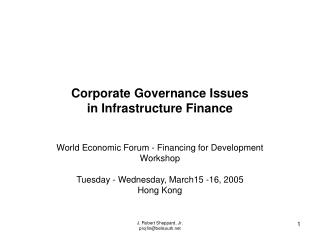 Corporate Governance Issues in Infrastructure Finance