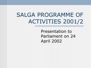 SALGA PROGRAMME OF ACTIVITIES 2001/2