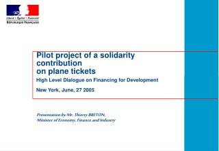 Pilot project of a solidarity contribution  on plane tickets
