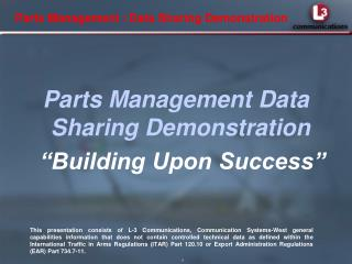 Parts Management / Data Sharing Demonstration