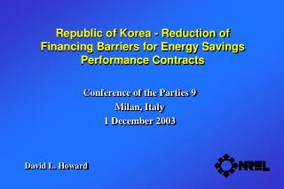 Republic of Korea - Reduction of  Financing Barriers for Energy Savings Performance Contracts
