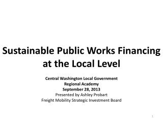 Sustainable Public Works Financing at the Local Level