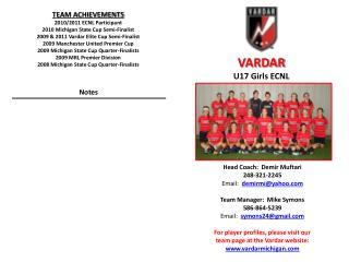 Head Coach:   Demir Muftari 248-321-2245   Email:   demirmi@yahoo.com Team Manager:  Mike Symons 586-864-5239 Email: