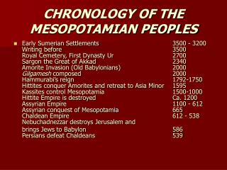 CHRONOLOGY OF THE MESOPOTAMIAN PEOPLES